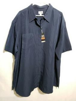 Haggar Men's XXL Short Sleeve Button Down Navy Blue Checkere