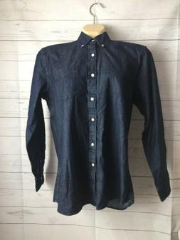 Goodthreads Men Standard Fit Long Sleeve Denim Shirt Dark Bl