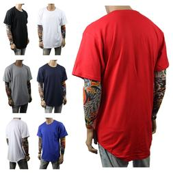 Men T-Shirt BIG AND TALL Long Extended Casual Tee Basic Crew