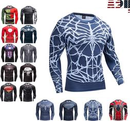 Men Gym T Shirt Compression Top Superhero Avengers Marvel Mu
