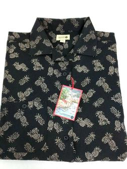 Haggar Men The Portofino Button Shirt Hawaiian Pineapple Med