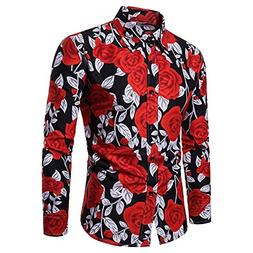Men Tops Clearance WEUIE Man Fashion Flower Printed Blouse C