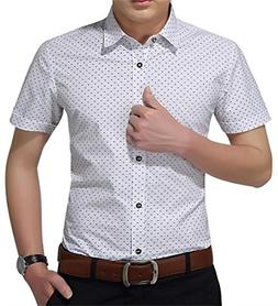 YTD Mens 100% Cotton Casual Slim Fit Long Sleeve Button Down