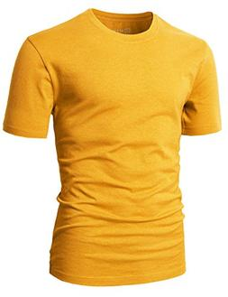 H2H Mens Basic Fashion Crew-Neck Slim Fit T-sihrt Mustard US