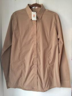 Men's H2H Button Front Fitted Long Sleeve Shirt Khaki Tan