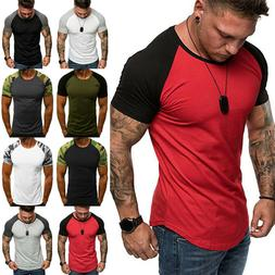 Mens Camo Fitness Athletic Gym Muscle Tops Casual Training S
