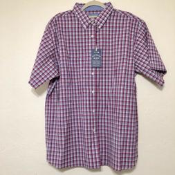 Haggar Men's Casual Short Sleeve Shirt Size XXL plaid Shir