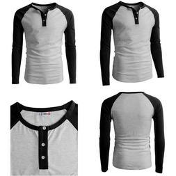 H2H Mens Casual Slim Fit Henley T-Shirts Raglan Baseball 3/4