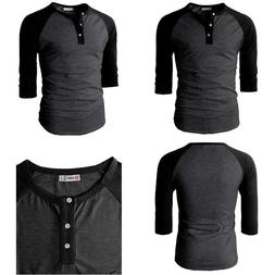 H2H Mens Casual Slim Fit Raglan Baseball 3/4 Sleeve Henley P