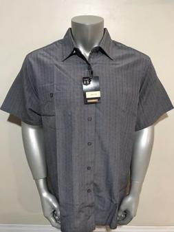 Men's Haggar Classic Fit Short Sleeve Coal Check Button Fr
