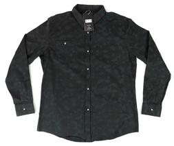 YTD Mens Large Black Print Cotton Slim Fit Long Sleeve Butto