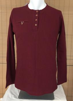 H2H Mens Large Burgundy Henley Long Sleeve Waffle NWT Cotton