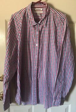 Goodthreads Mens Shirt Oxford Long Sleeve NEW Red White Blue