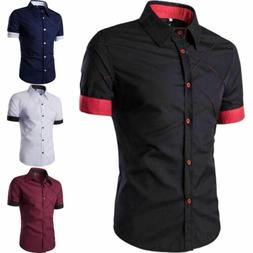Mens Short Sleeve Button Down Casual Shirts Slim Fit Dress F