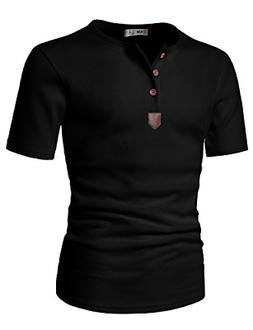 H2H Mens Short Sleeve Henley T-shirts with Waffle Knitted Fa