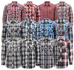 Men's Western Pearl Snap Button Down Casual Long Sleeve Pl