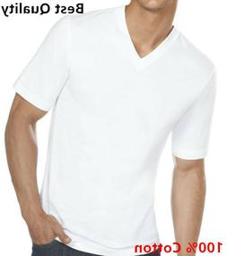 New 3-6 Pack Men's 100% Cotton Tagless V-Neck T-Shirt Unders