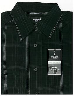 New Haggar Men Black Plaid Microfiber Casual Button-Down Shi