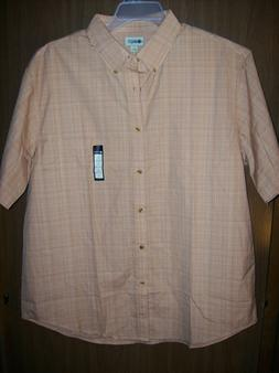 NEW MEN'S HAGGAR CASUAL BUTTON UP SHIRT, SZ XL LIGHT TANGERI