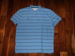 NEW Mens NAUTICA Blue Striped Short Sleeve Polo Shirt Size X