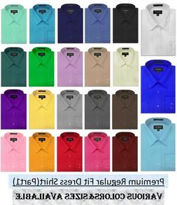 NEW MENS Solid Long Sleeve Dress Shirt - 26Colors, Part 1