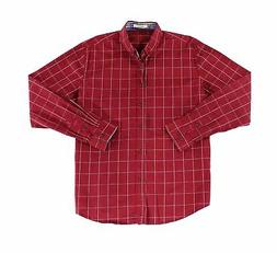 LOCALMODE NEW Red Mens Size Large L Button Down Windowpane S