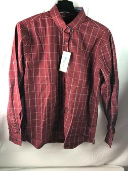 NWT Localmode Men long Sleeve Button Front Dark Red Shirt si