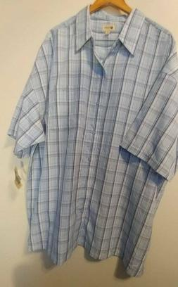 NWT Men's Haggar Short Sleeve Blue Plaid Button Front Shirt