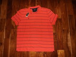 NWT Mens NAUTICA Coral Navy Blue Striped Short Sleeve Polo S