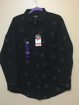 NWT Mens Haggar LS Button Down Shirt Sz Medium Black Christm