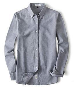 MUSE FATH Men's Oxford Dress Shirt-Cotton Casual Long Sleeve