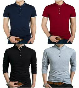 YTD Mens Summer Slim Fit Pure Color Short Sleeve Polo Casual