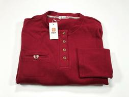 H2H Red Men's Thermal Long Sleeve Henley Pocket Shirt XL NEW