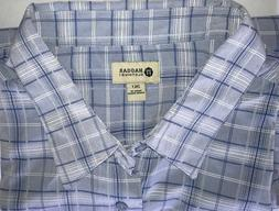 Haggar Shirt Mens 2XLT Blue Plaid Big & Tall  Easy Care Shor