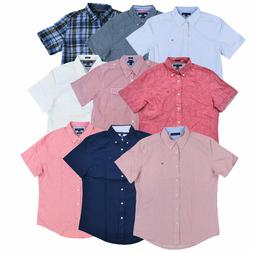 Tommy Hilfiger Shirt Mens Short Sleeve Button Up Buttondown