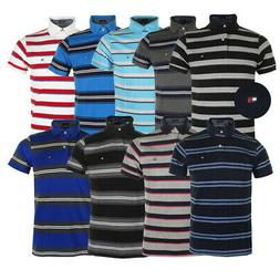 Tommy Hilfiger Men's Short Sleeve Striped Custom Fit Polo Sh