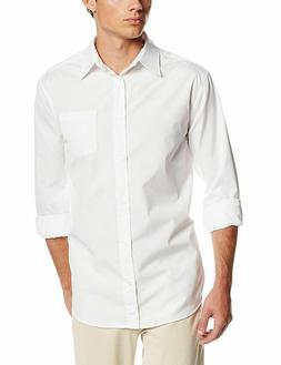 Lee Uniforms Men's Long Sleeve Dress Shirt, White, Small
