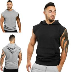 USA Men Muscle Hoodie Tank Top Bodybuilding Gym Workout Slee